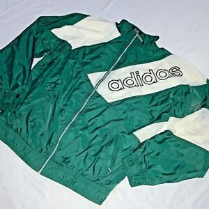 3bed81f18d4aa Super Rare Vintage 90s Adidas Jacket Windbreaker Nylon Glanz Green ...