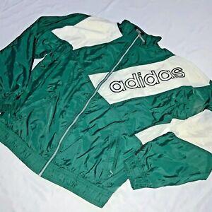 Détails sur Super Rare Vintage 90s Adidas Veste Coupe Vent Nylon Glanz Vert Blanc M