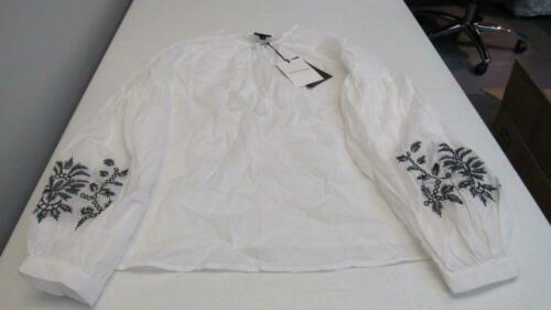 Who What Wear Blue//White Pinstripe OR White Blouse w//Embroidery UPick NEW TL83