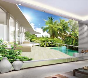 3D Tropischer Balkon 98 Tapete Wandgemälde Tapete Tapeten Bild Familie DE Summer