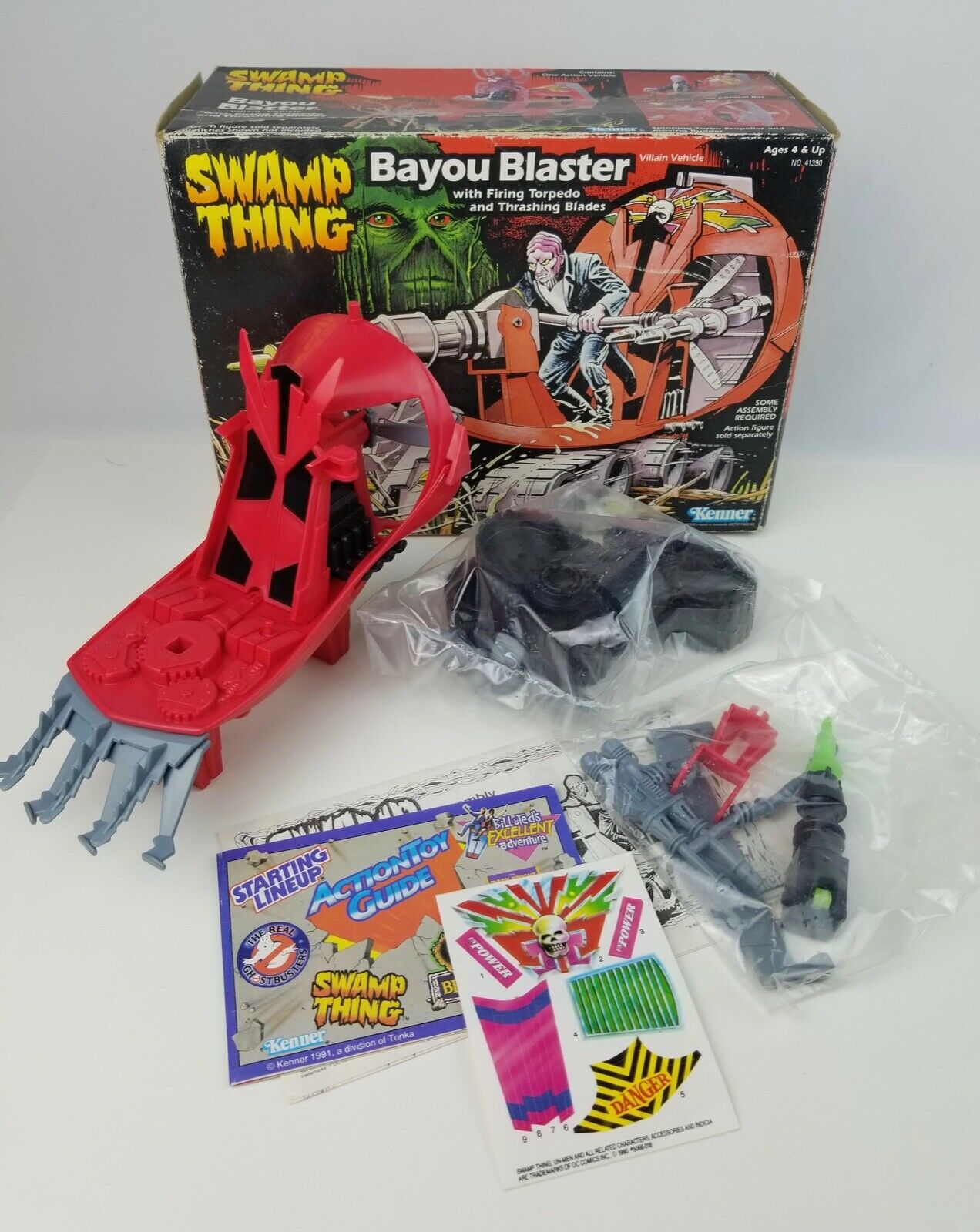 1990 New Kenner Swamp Thing Bayou Blaster Vehicle Open box w  sealed contents