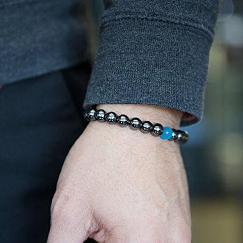 Rond Noir Pierre perles stretch bracelet guérison Reiki Yogo méditation Shan