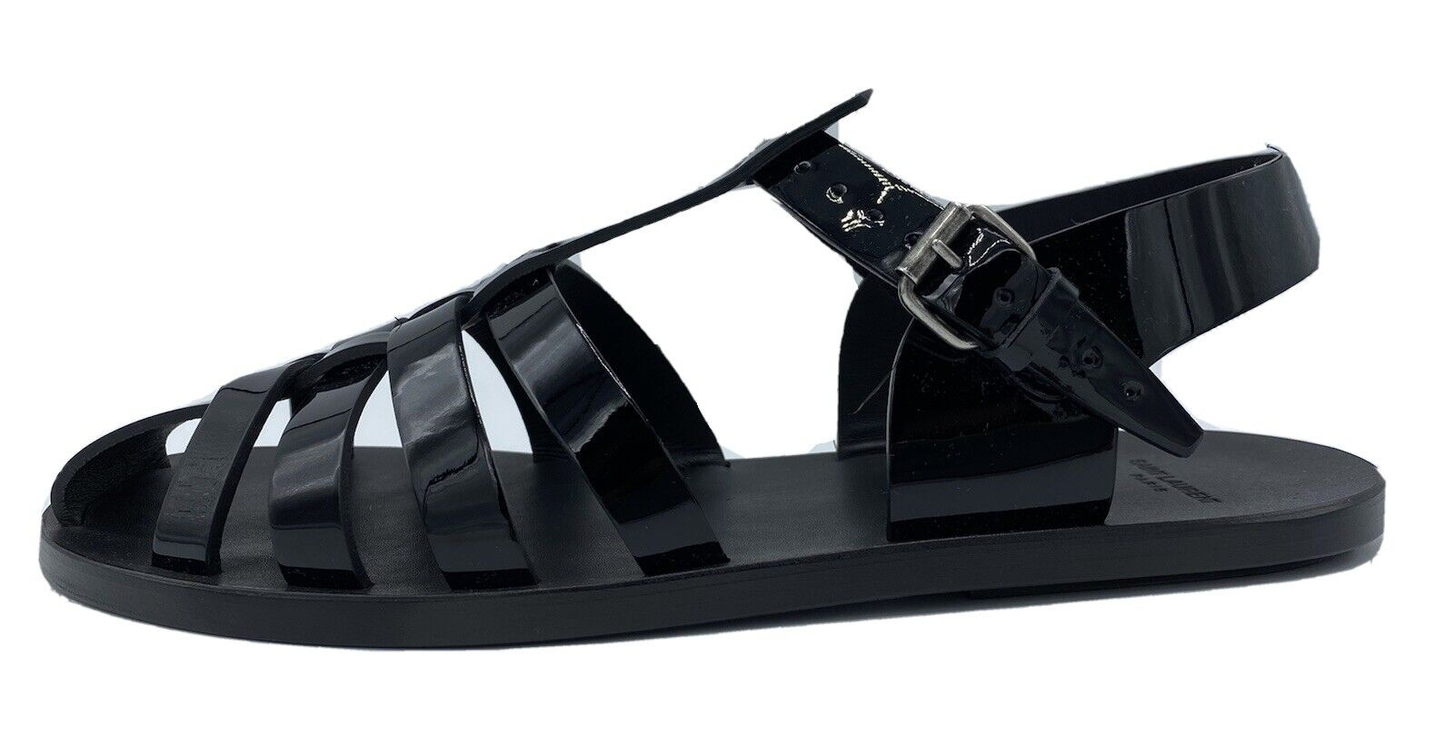 Saint Laurent Black Patent Leather Sandals size US 12, Made in Italy