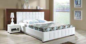 Design luxus lounge polsterbett doppelbett futon bett leder weiß