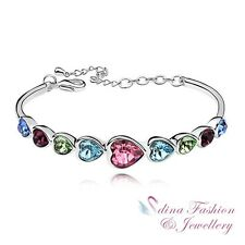 18K White Gold Plated Made With Swarovski Crystal Multicolored Hearts Bracelet