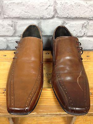 IKON UK 7 EU 41 Marrón Cuero lado inglés Encaje Zapatos Rrp £ 55