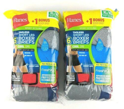 Lot of 12 Hanes Mens XL Short Leg Boxer Briefs Sport Fresh IQ Tagless Underwear