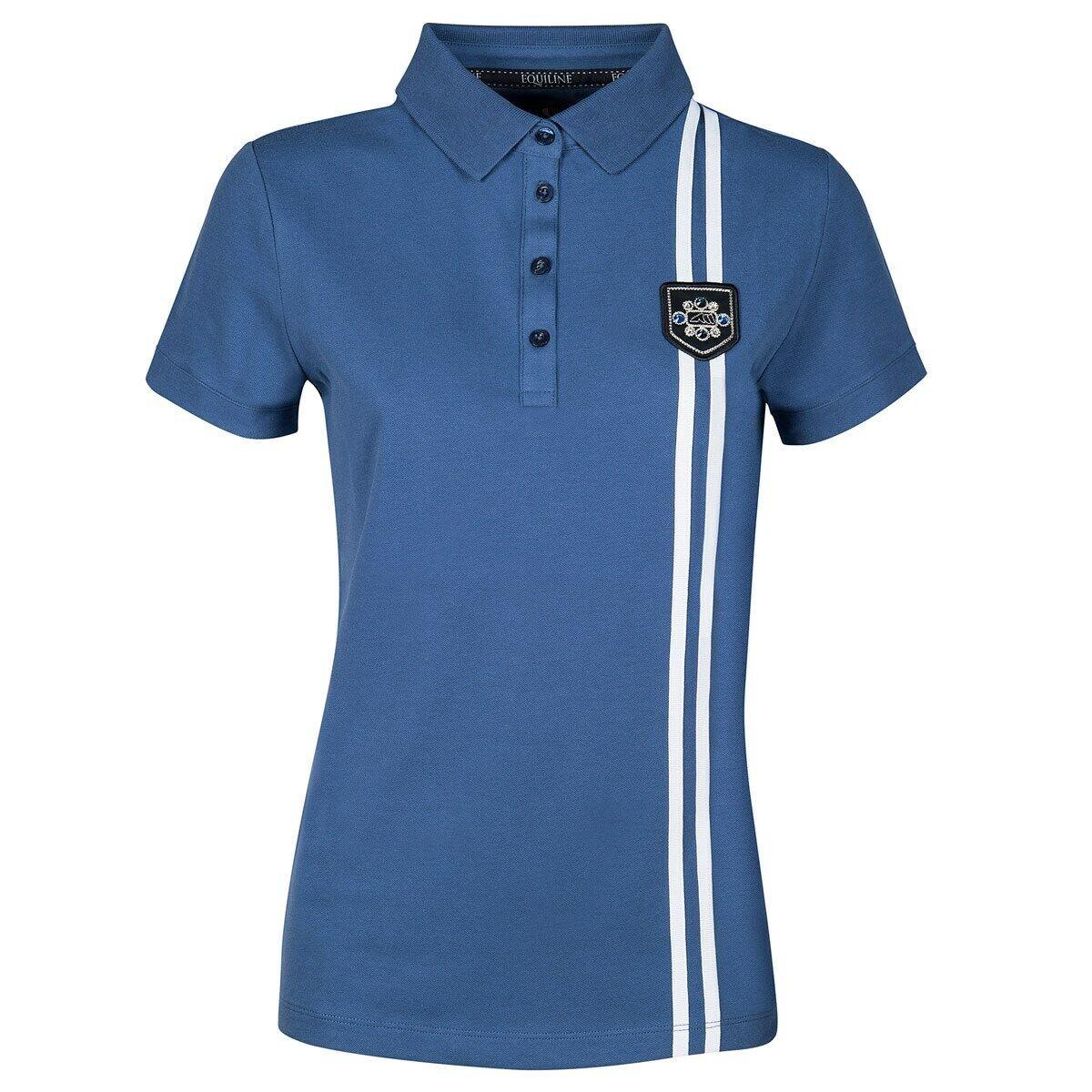 Equiline Royal Polo Shirt Top ladies short sleeve niagara bluee size S + M