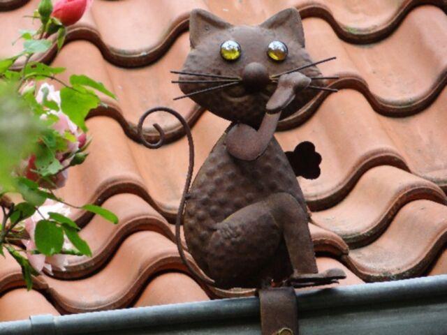 Dachrinnenfigur Katze Zaunfigur Dachschmuck Gartendekoration Zierfigur Metall
