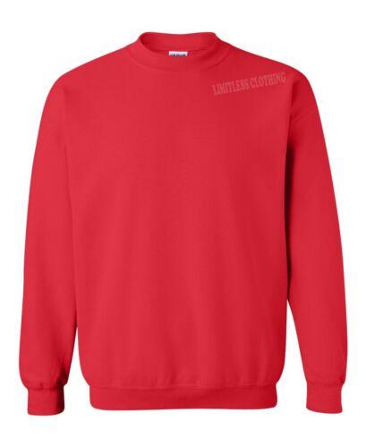 Red Unisex Men Women Pullover Crewneck Sweatshirt Basic S-2XL