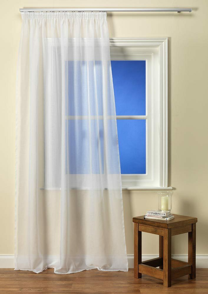 Como Plain Voile Curtain Panel Muslin Effect available in Weiß or Cream