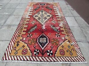 Shabby-Chic-Worn-Vintage-Hand-Made-Traditional-Red-Gold-Wool-Large-Rug-306x149cm