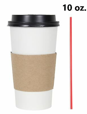 Disposable Hot Tea Paper Coffee Cups With Lids Sleeves Stirrers 100 Set 16 Oz