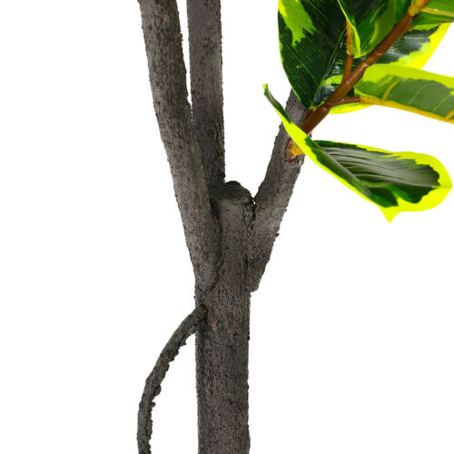 Artificial Rubber Plant Topiary Ficus Elastica Tree Realistic Potted Home Hotel