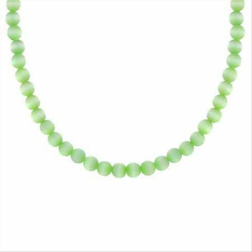 Silver simulated 4MM GREEN CATS EYE BEADED NECKLACE