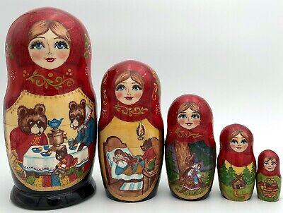 Matryoshka Russian Wooden  Handmade Nesting Dolls  Set 5pc Souvenir