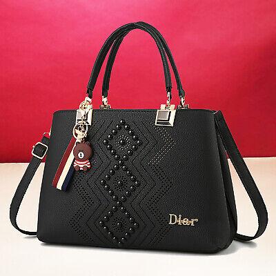 Schwarz Damentasche Leder Handtasche Damen Tasche Tragetasche Schultertasche Neu | eBay
