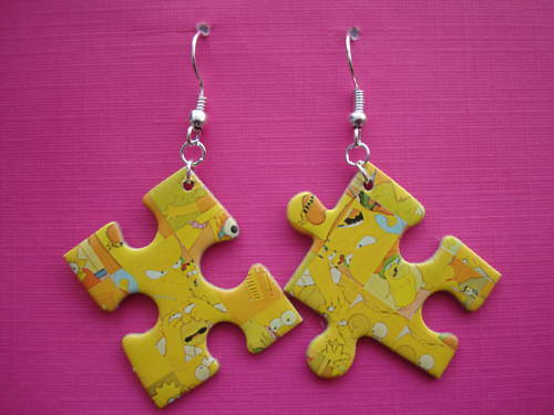 FUNKY YELLOW SIMPSONS JIGSAW PUZZLE EARRINGS KITSCH CUTE RETRO TV NOVELTY COOL