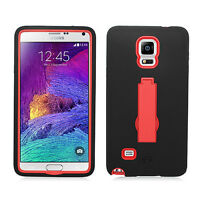 Samsung Galaxy Note 4 IMPACT Hard Rubber Case Phone Cover Kickstand Accessory