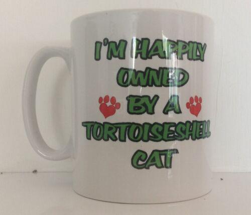 Estoy feliz de propiedad de una taza de Carey Gato Estampado-Ideal Regalo//presente