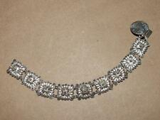 VTG Sterling Silver Filigree Flower Link Bracelet w/ Hunting Scene Charm 17 gr