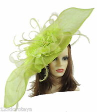 Large Lime Green  Fascinator for Ascot, Weddings, Proms, Derby, Formal Even
