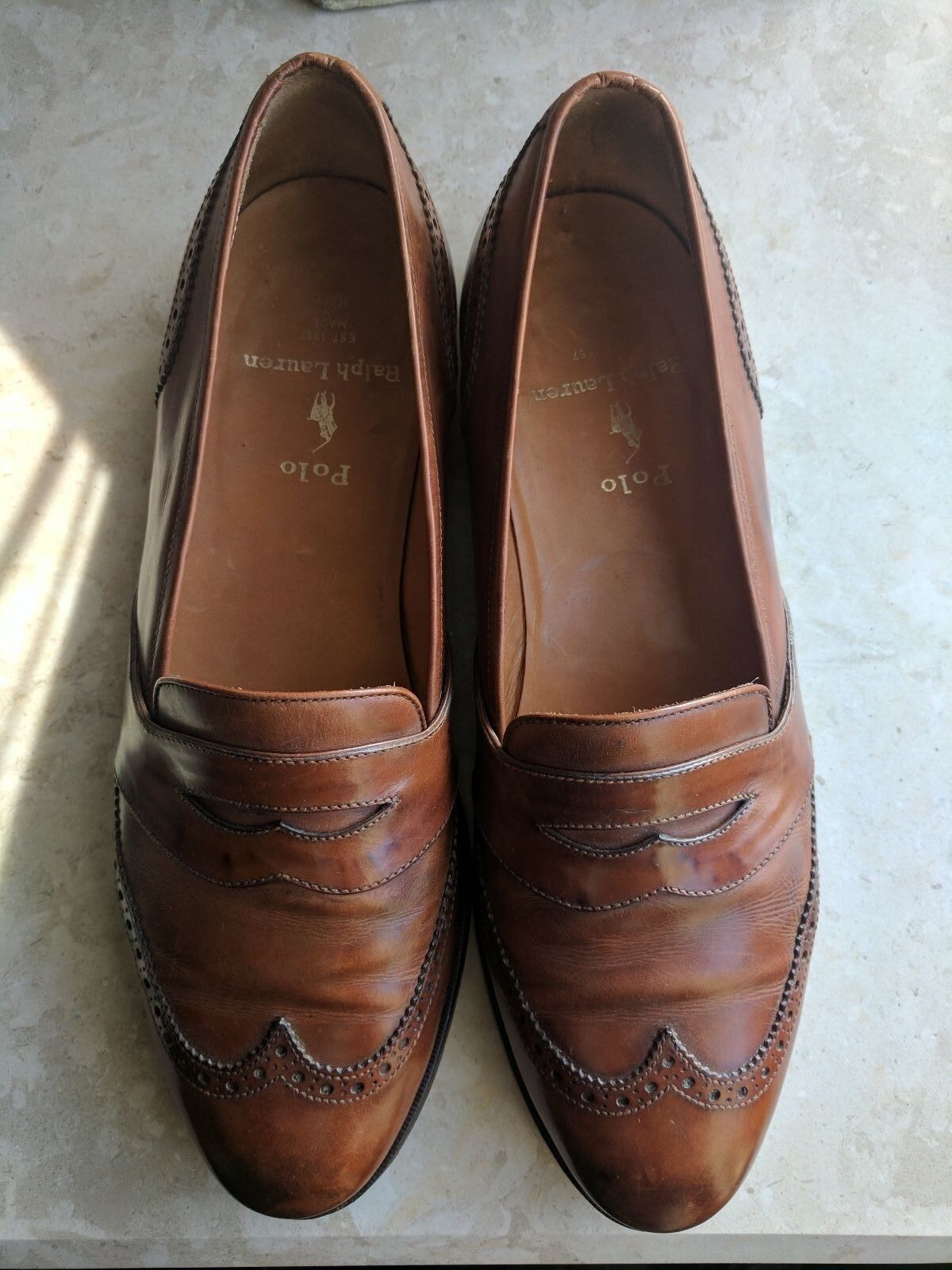 Polo Ralph Lauren Brown Italian Leather Loafers Sz 8D  Handsome shoes