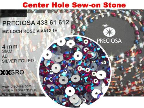 288 Preciosa Czech VIVA Loch Rose 1-hole Sew-on Flatback Stones 4mm Siam AB