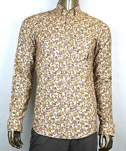 9ce6cf57ef62 $670 New Authentic Gucci Mens Peacock Floral Dress Shirt Slim Beige ...