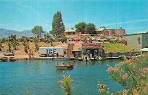 LAKE-HAVASU-CITY-AZ-Arizona-MARINA-DOCK-AREA-Boats-50-039-s-Cars-Chrome-Postcard