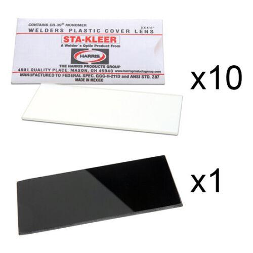 "10 Clear Hood Lens Cover /& 1 Shade 11 Harris Welding Hood Lens Kit 2/"" x 4.25/"""