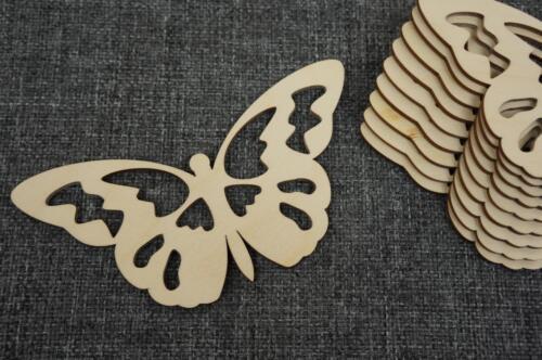 10 x Plain Wooden Butterfy Shape Craft Embellishment Decoupage Child Room V82