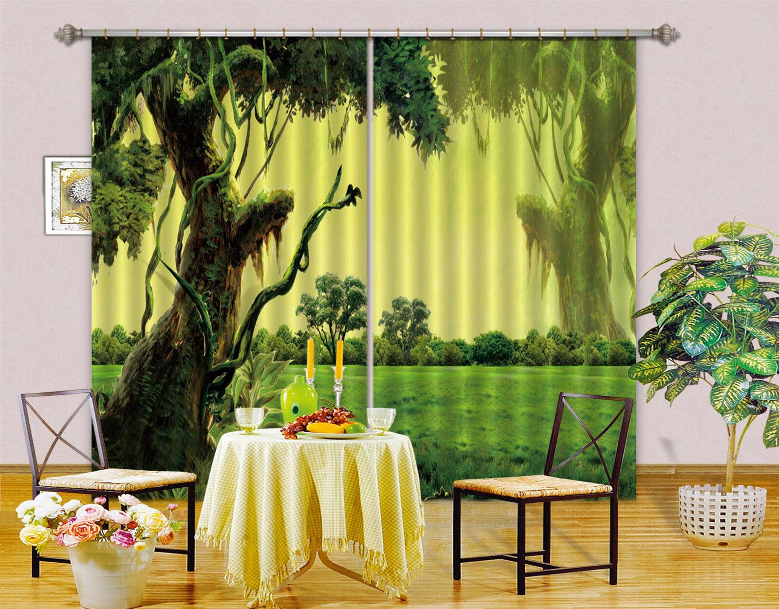 3d ALBERI verde 789 blocco foto sipario pressione sipario tende tessuto finestra de