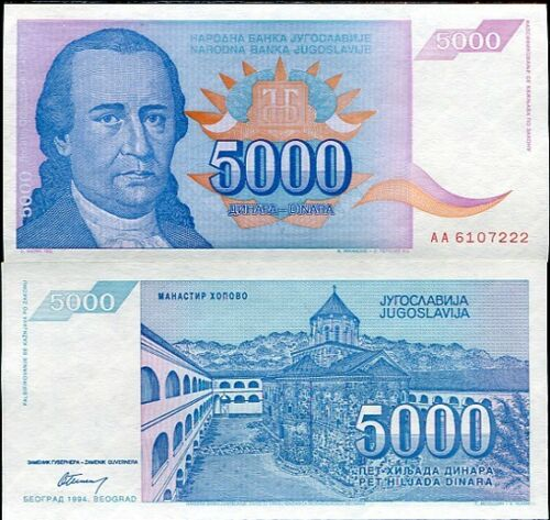 YUGOSLAVIA 5000 5,000 DINAR 1994 P 141 AUNC