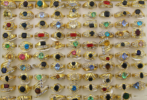 Colorido Imitación Circón oro P dama anillos/'s EH125 Venta por mayor lotes mixtos 50 un