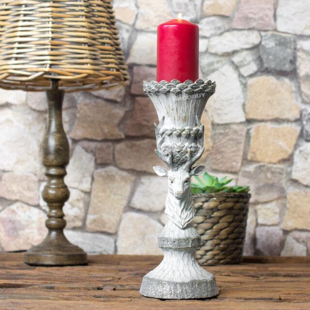 30cm Stag Deer Reindeer Pillar Candle Stick Holder Shabby Chic Home Decoration
