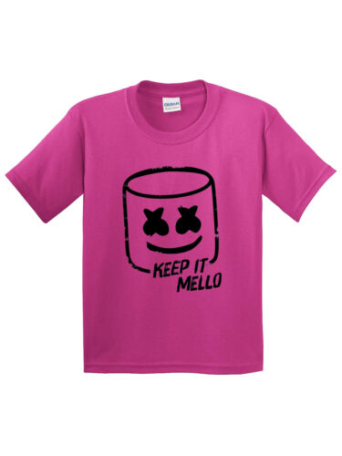 New Way 1213 Youth T-Shirt Keep It Mello Smile Face Mask DJ Music Tunes