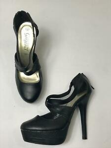 WOMEN-039-S-NEW-LOOK-BLACK-FAUX-LEATHER-STRAPPY-HIGH-HEEL-PLATFORM-SHOES-UK-5-EU-38
