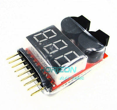 4X 1S-8S Battery Low Voltage Tester Alarm Buzzer Battery Voltage 2IN1 Tester M99