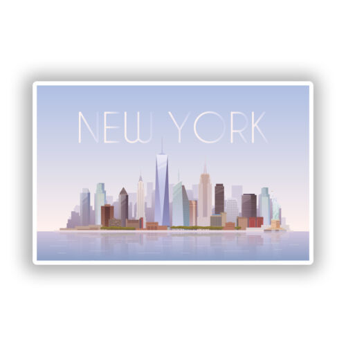 2 x new york skyline vinyle autocollants voyage bagages #7940