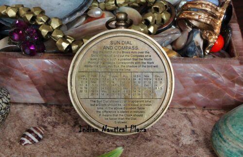 Nautical Maritime Compass Brass Pocket Sundial Compass w// Lid  Antique Finish