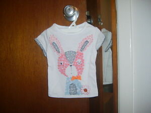 First impression girls short sleeve animal applique top white size 3