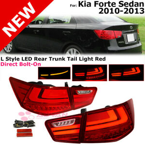 Rear Trunk Tail Lights For 10 13 Kia Forte L Style Led Red Lens