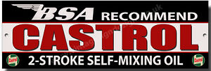 BSA RECOMMEND CASTROL 2-STROKE SELF-MIXING OIL METAL SIGN. FULLY LICENSED BY BSA