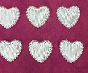 100 White Pearl Satin Acrylic Charms Card Making, Wedding Invites, Scrapbooking