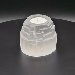 Candle holder tea light various designs unique gift natural selenite crystal