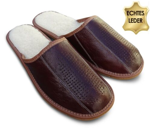 Hommes Cuir Chaussons Pantoufles Tongs Chaussons Marron Laine Taille 41-48