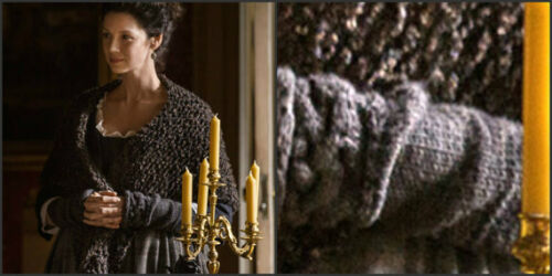 Claire/'s Shawl /& Arm Warmers Fingerless Gloves Set Outlander Inspired Patterns