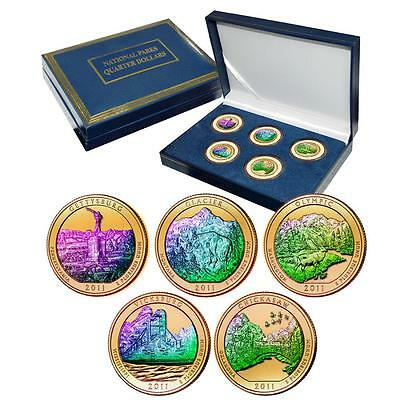 2011 Gold Plated with Hologram America the Beautiful National Parks Quarter Set