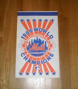 1986-New-York-Mets-World-Series-CHAMPS-square-pennant-Carter-Gooden-Strawberry